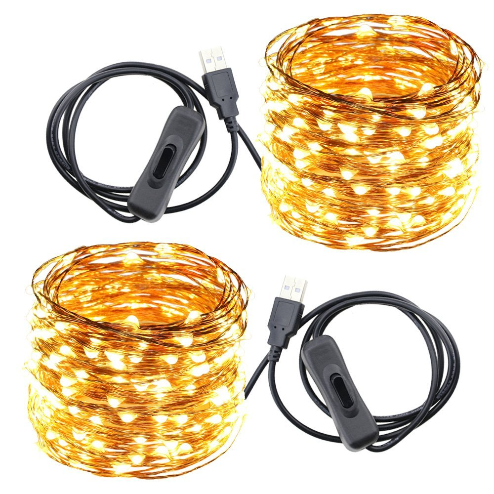 USB Led String Lights,ER CHEN(TM) 200 Leds 66Ft Waterproof Copper Wire String lights with ON/OFF Switch for Bedroom, Patio, Party, Wedding, Christmas Decorative Lights(Warm White,2-Pack)
