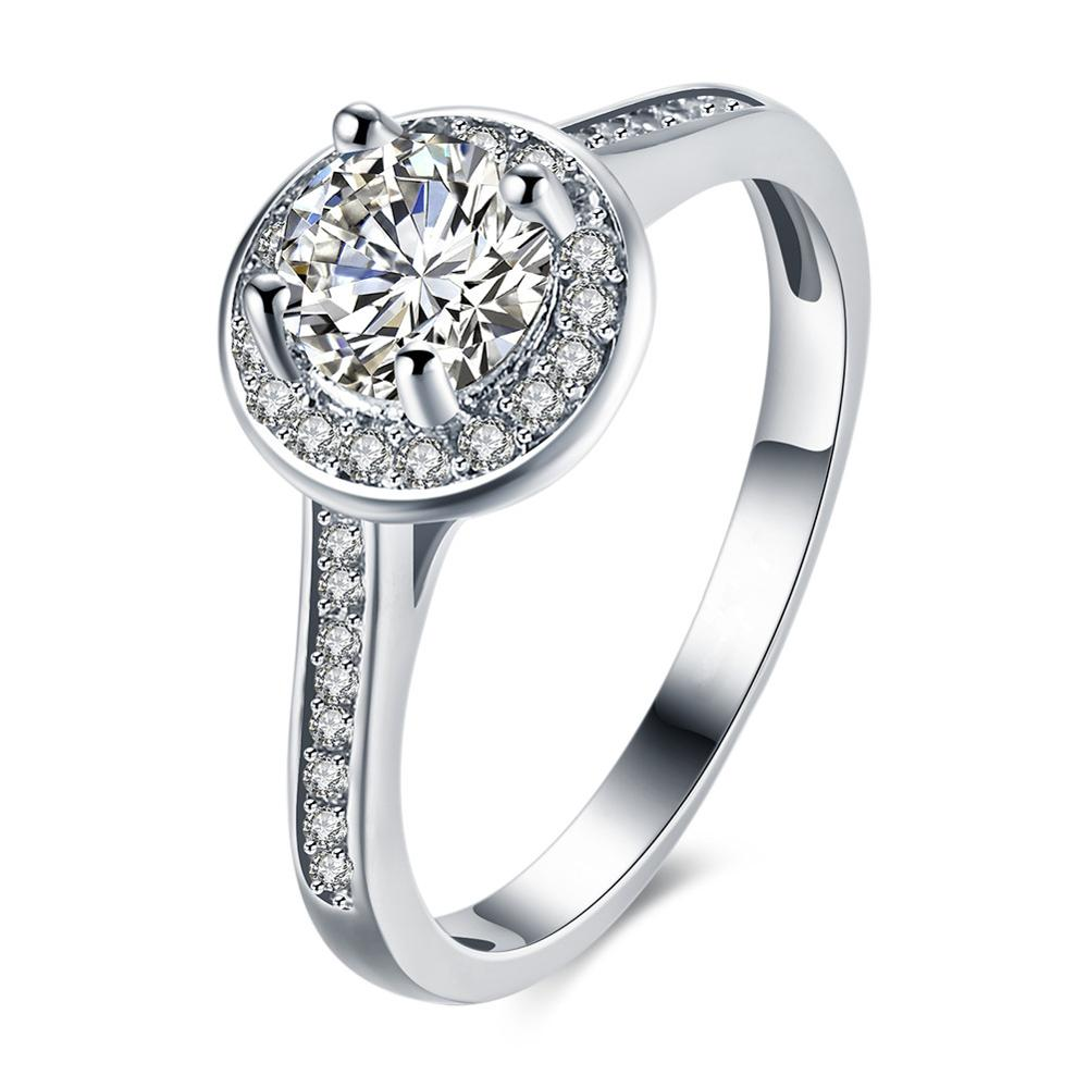 Luxury Zircon Wedding Ring Platinum Plated Bridal Jewelry moissanite diamond ring natural фото