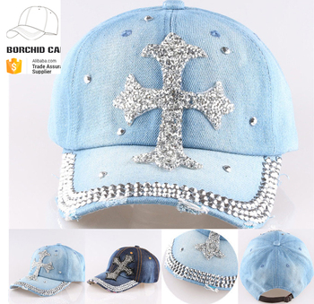 e157c5ba495941 wholesale distressed baseball cap custom denim hat wholesale fashion women  bling rhinestone wholesale caps and hats