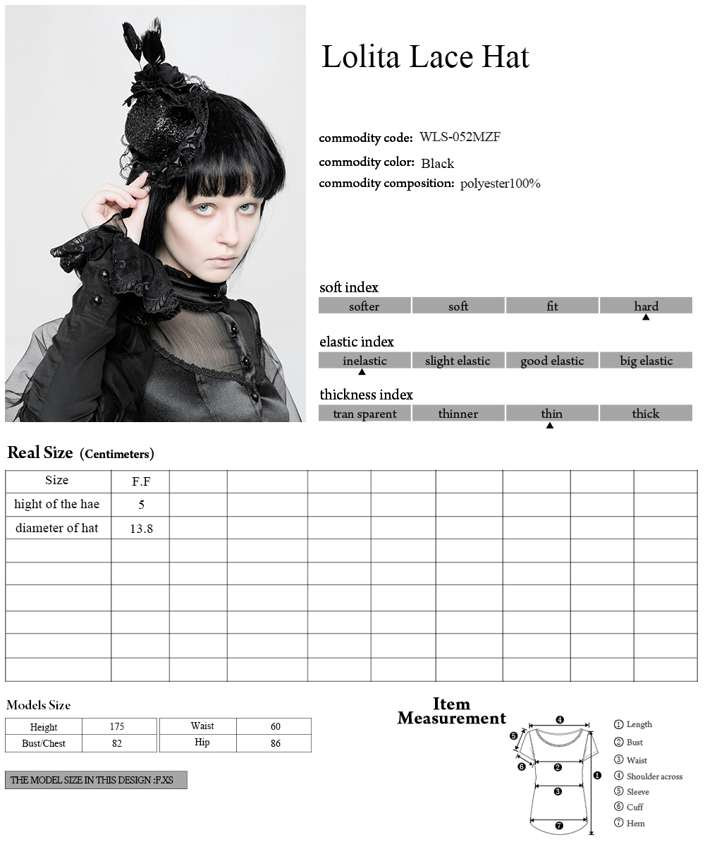 WLS-052 PUNK RAVE Lolita Lace Hat for women