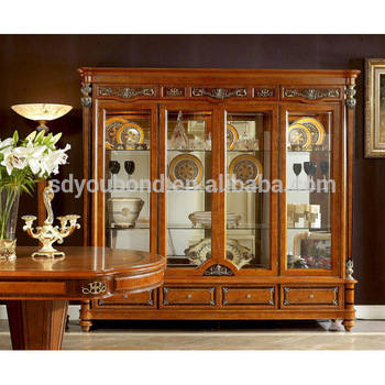 Attractive 0029 Italy Design Classic Dining Room Wooden Glass Showcase Part 5