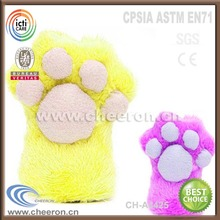 Funny plush and stuffed cat paw hand puppet toys