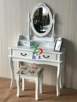 Classical white dressing table with stool