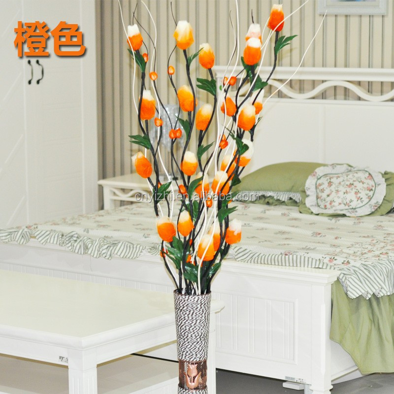 orange artificial dry tulip branch flower Pure handmade Dried Willow Branches 120cmH fake plant Plum Blossom branch