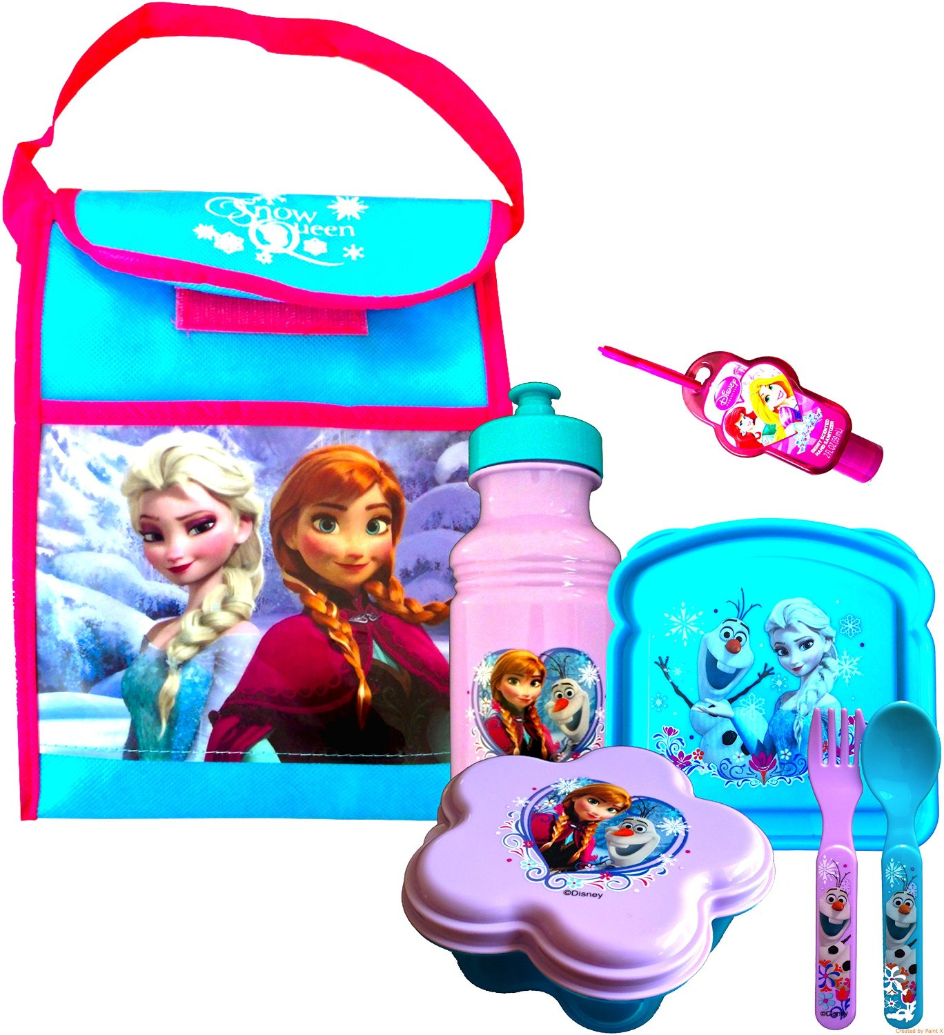 Disney Frozen Disneyland Survival Kit Includes Pull-top Water Bottle Snack Container , Sandwich Container, Pair of Utensils Fork and Spoon and Handy Clip on Disney Princess Hand Sanitizer with Bonus Non Woven Vertical Frozen Bag to Carry Around