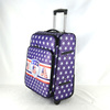 High quality PU leather blue trolley case with aluminium trolley