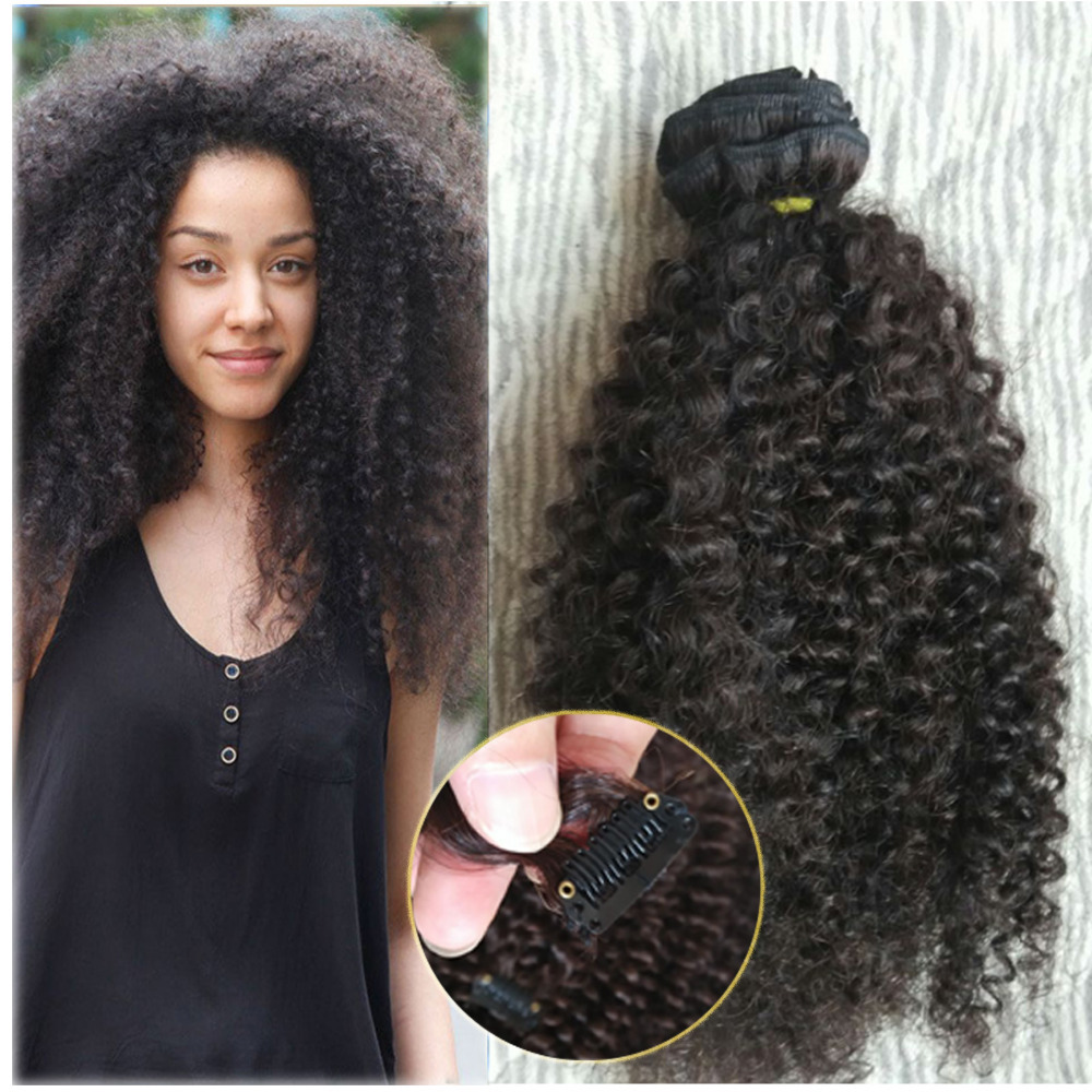 Natural Black afro kinky clip in extensions 100g Curly ... - photo#20