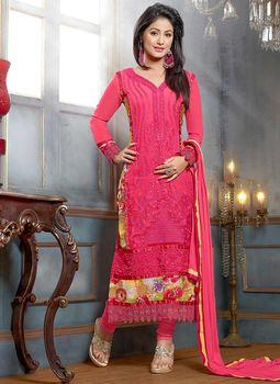 deffb3a0b7 Bollywood Salwar Kameez Anarkali Salwar Kameez Pink Akshara Faux Georgette Churidar  Salwar Suit Wedding Salwar Kameez