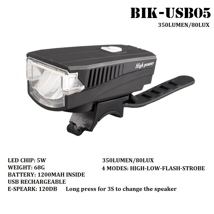 120DB Electric Speaker 350lm USB rechargeable stvzo bicycle light
