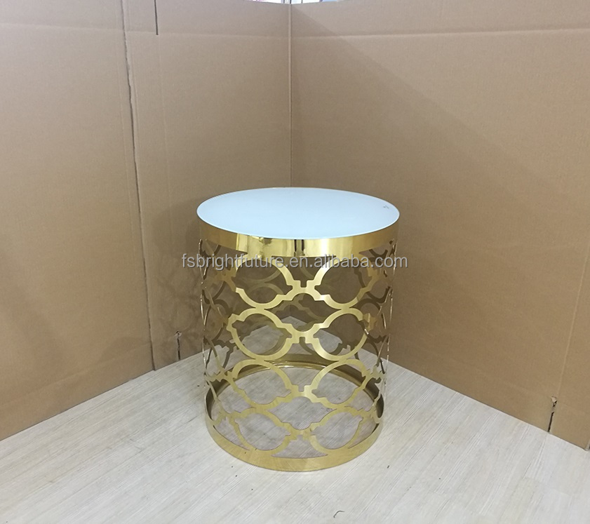 white glass top round side table for living room
