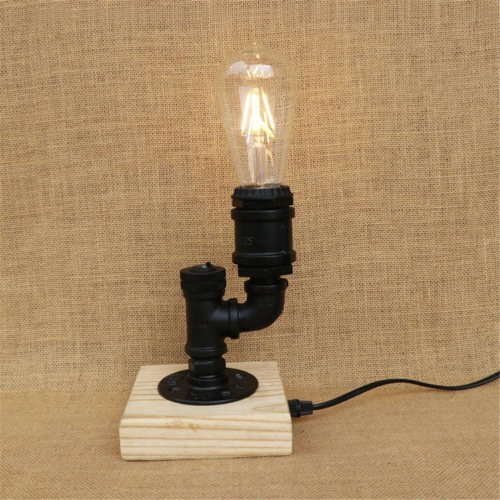 2:54 DIY Project   Pipe Lamp · BJVB Vintage Metal Water Pipe Wall Lamp  Handcrafted Wooden Base Water Pipe Table Lamps Interior Lighting