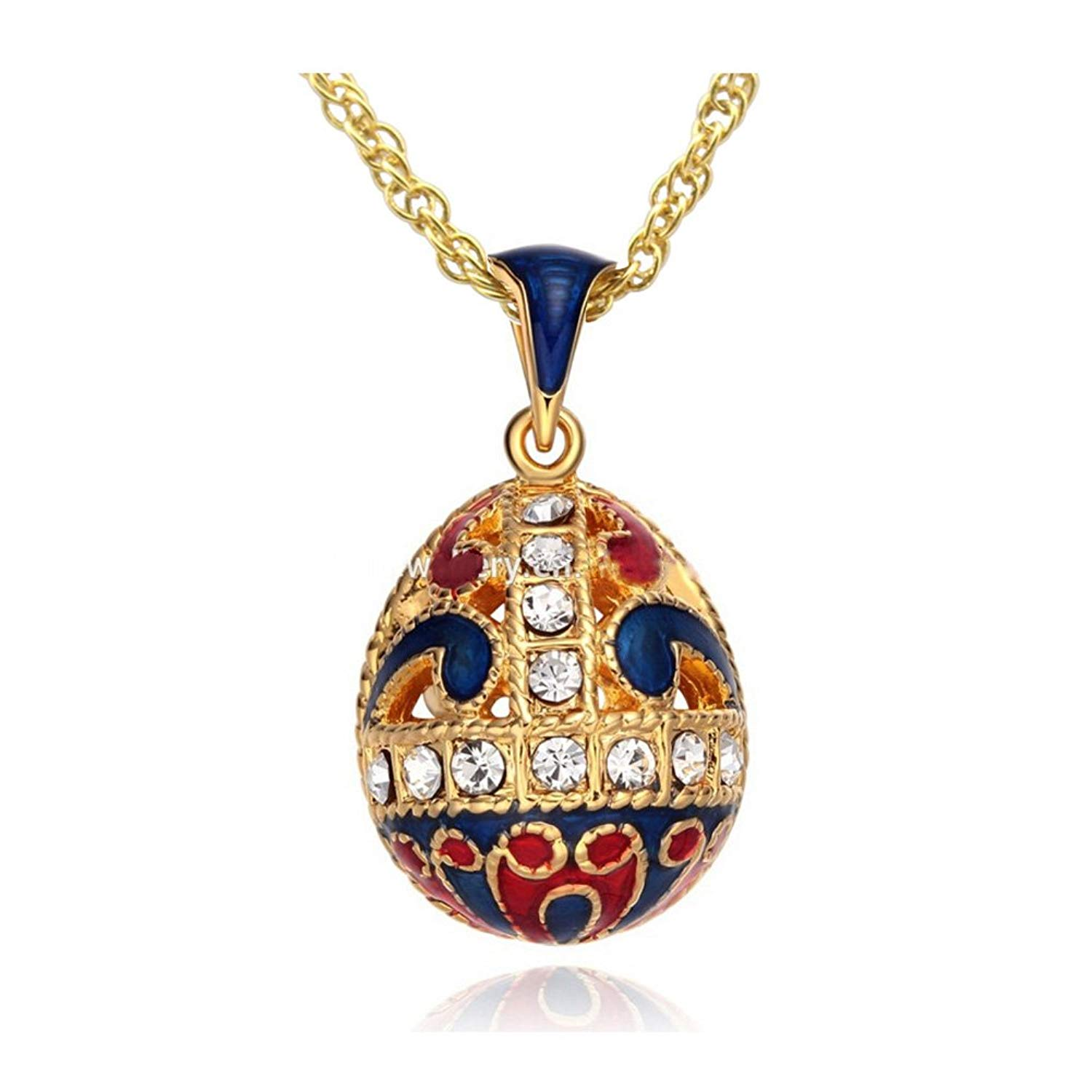 MYD Jewelry Enamel Hollow Flower Easter Egg Faberge Egg Pendant Necklace
