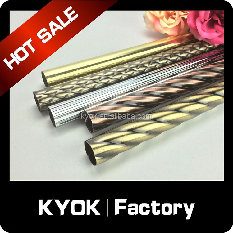 KYOK Heavy duty wrought iron curtain rod, stainless steel extension curtain pole, ready made aluminum alloy curtain pipe/tube