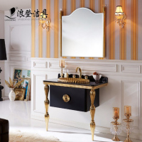Black Luxury waterproof Bathroom Vanity for Dubai Bathroom