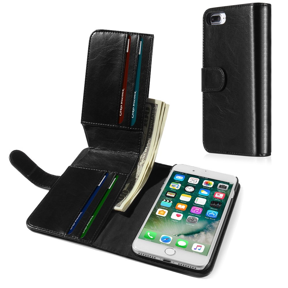 """TNP iPhone 7 Plus Wallet Phone Case - Synthetic Leather Folio Flip Cover with Magnetic Snap Closure, Hard Back, ID Credit Card Slot and Cash Compartment Money Pocket for Apple iPhone 7 Plus 5.5"""" Black"""