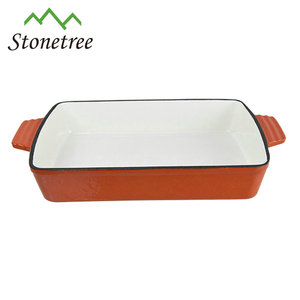 33x23cm Large Ovenproof Enamel Cast iron Baking Dish/Pan/Tray for Oven