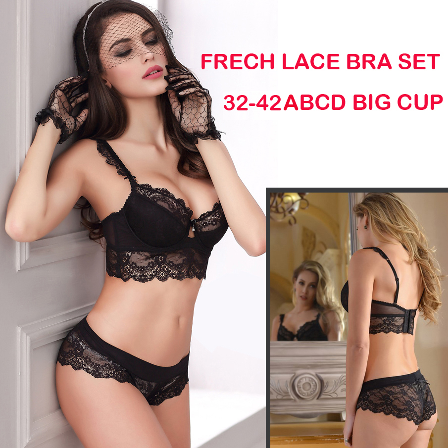 b5b12cb58789e 32 34 36 38 40 42 B C D Big Cup French Lace Bra Panties Set Thin Cup  Bombshell Underwear Set Sexy Lingerie Set   Intimates