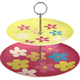 Fancy biogredable bamboo fiber 2-tier round cake stand snake plate for party