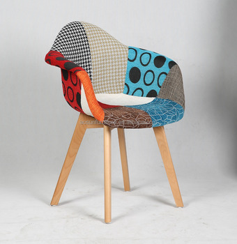 Fabric Patchwork Cushion AND Wood Legs Banquet Chair Leisure Chair