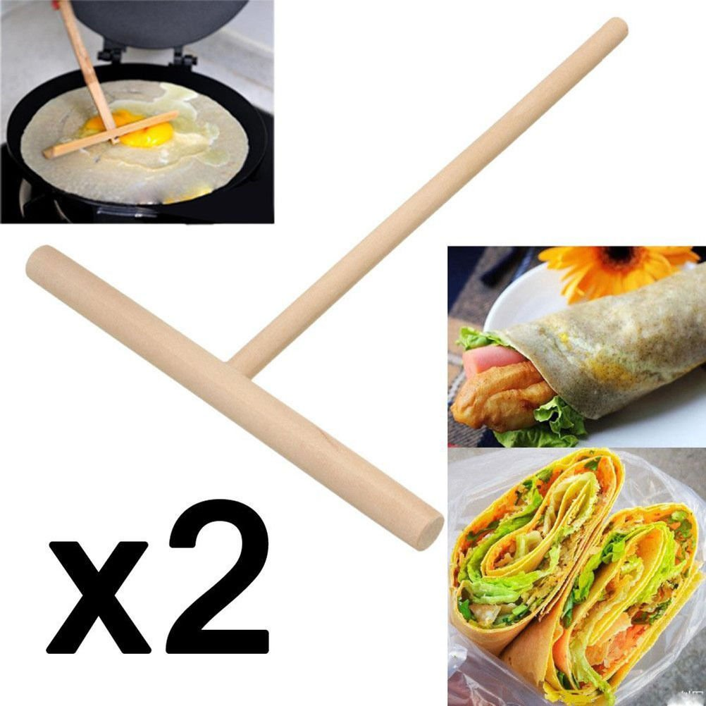OKOKMALL US--2x Wooden Rake Round Batter Pancake Crepe Spreader Kitchen Tools DIY 15cm