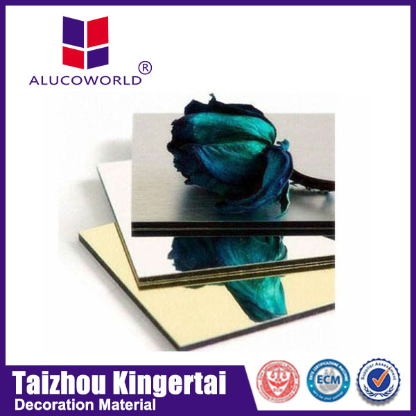Alucoworld 2mm 3mm 4mm aluminum sheet gold/silver mirror finish exterior building decorations