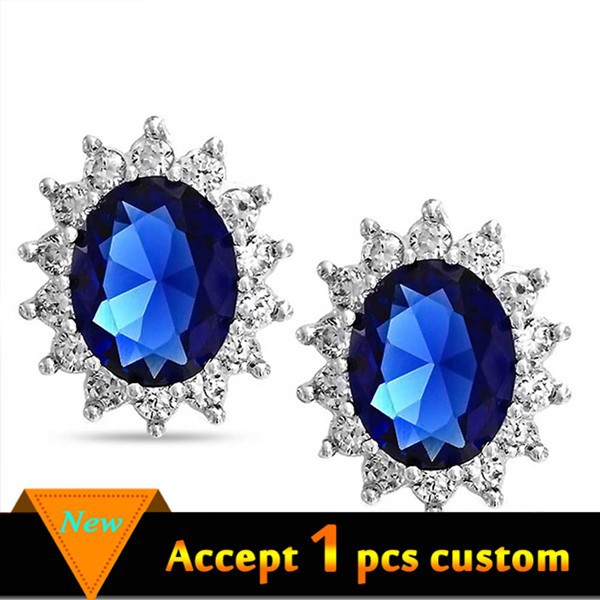 Latest fashion jewelry earrings earring with blue stone