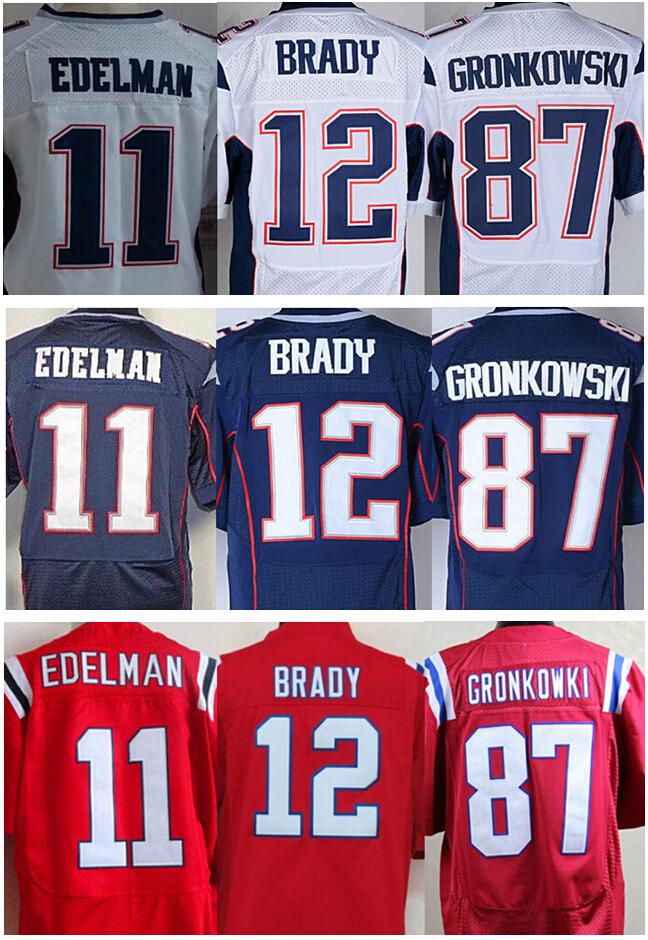 Cheap Wholesale  11 Julian Edelman 12 Tom Brady 87 Rob Gronkowski Jersey  Blue Red White 3195ab79d