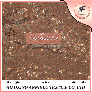 Factory cheap bronze embroidered sequin fabric