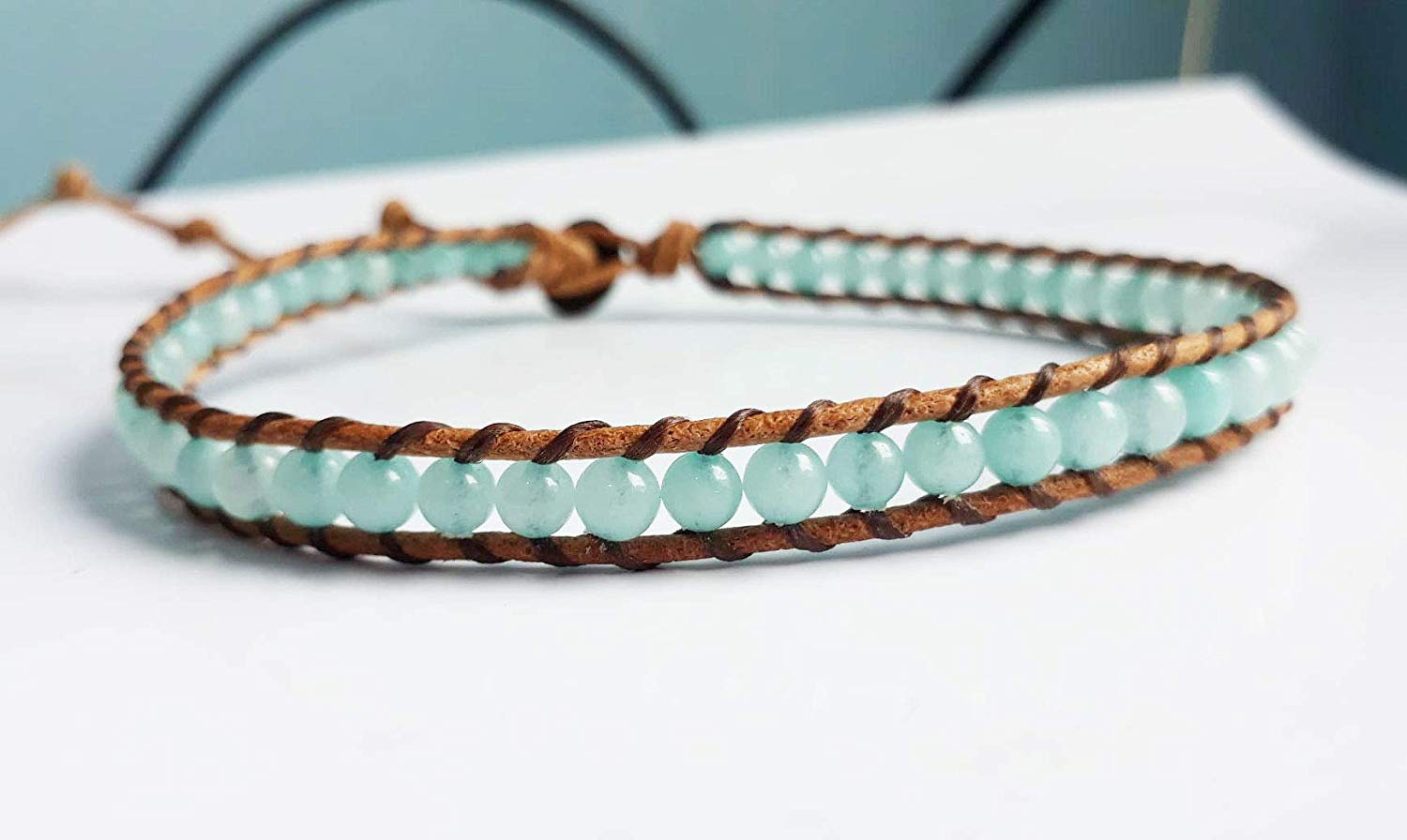 Stone anklets amazonite anklets leather anklets men anklets women anklets friendship anklets gift anklets fashion anklets