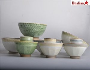 Green and beige embossed porcelain rice bowl soup bowl