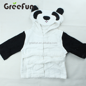 Custom Design Panda Animal Face Hooded Woven Terry Baby Towel , Wholesale High Quality Baby Bathrobe Washcloth with Hood