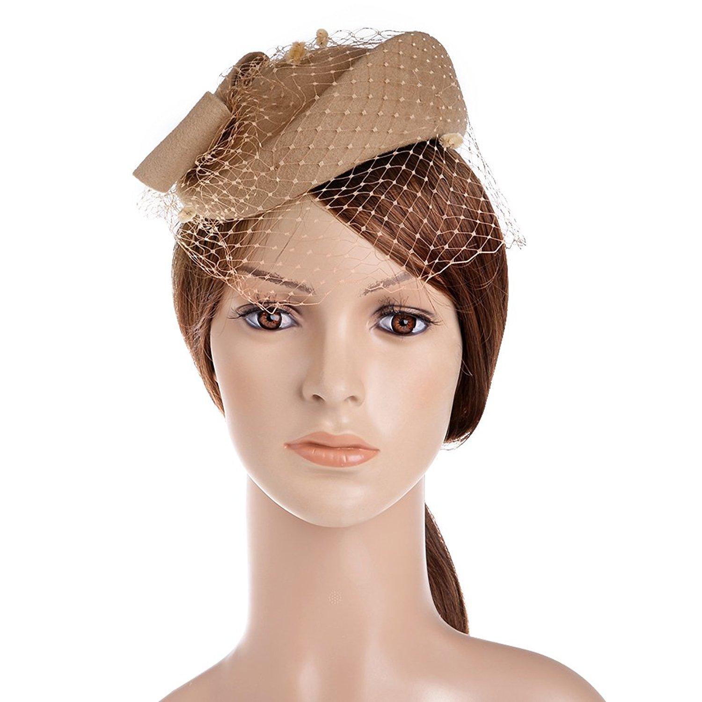 efd8cf15565 Get Quotations · VBIGER Women Fascinator Hats Derby Wedding Hats Vintage  Hat Pillbox Hat Woollen Felt Hat Bow Veil