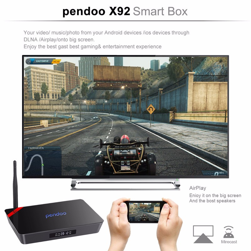 Amlogic S912 2gb 16g Octa core tv box Pendoo X92 Android 6.0 Lollipop KD player 4K*2K android tv box X92