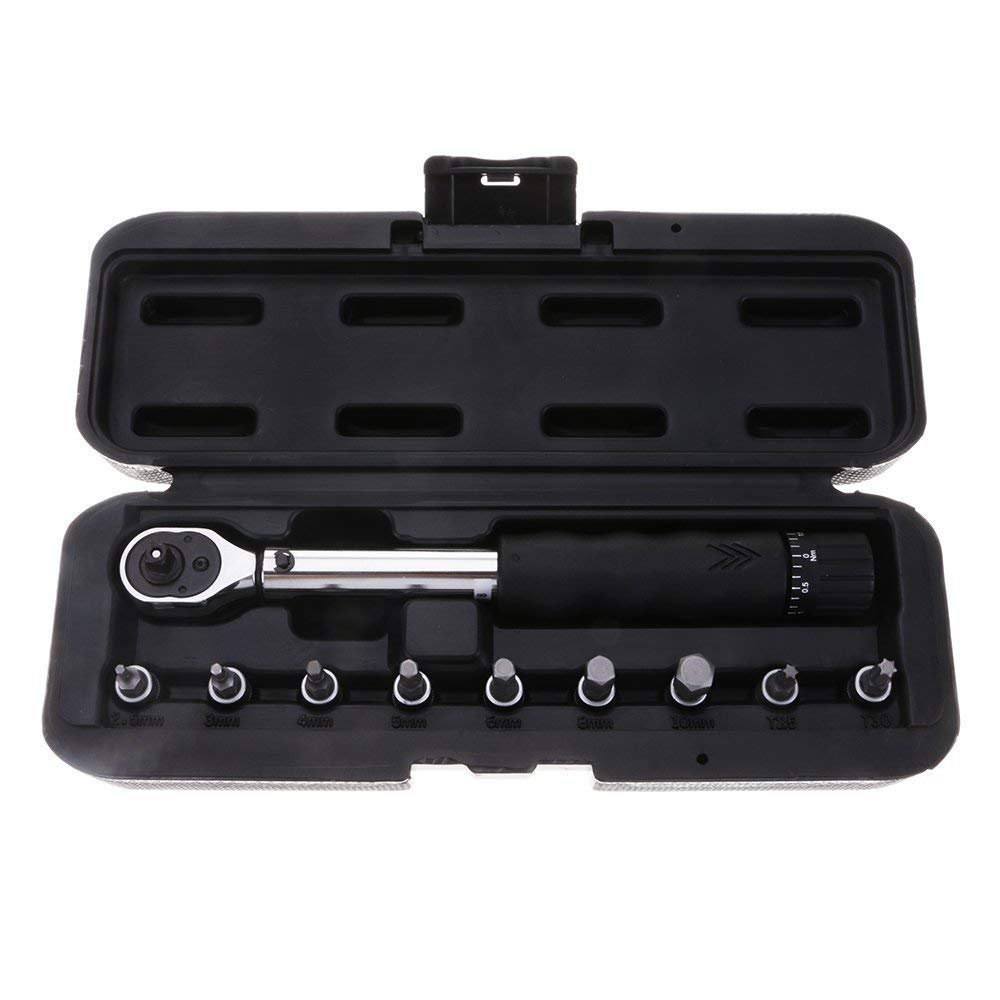 "1/4"" Bicycle Bike Drive Torque Wrench Tool Sets, Reversible Ratchet Socket Torque Sleeve Kit, Torque Wrench Socket Bits Allen Key Tools 2-14 NM Drive Click, Ideal for Installing Bolts & Bike Parts"