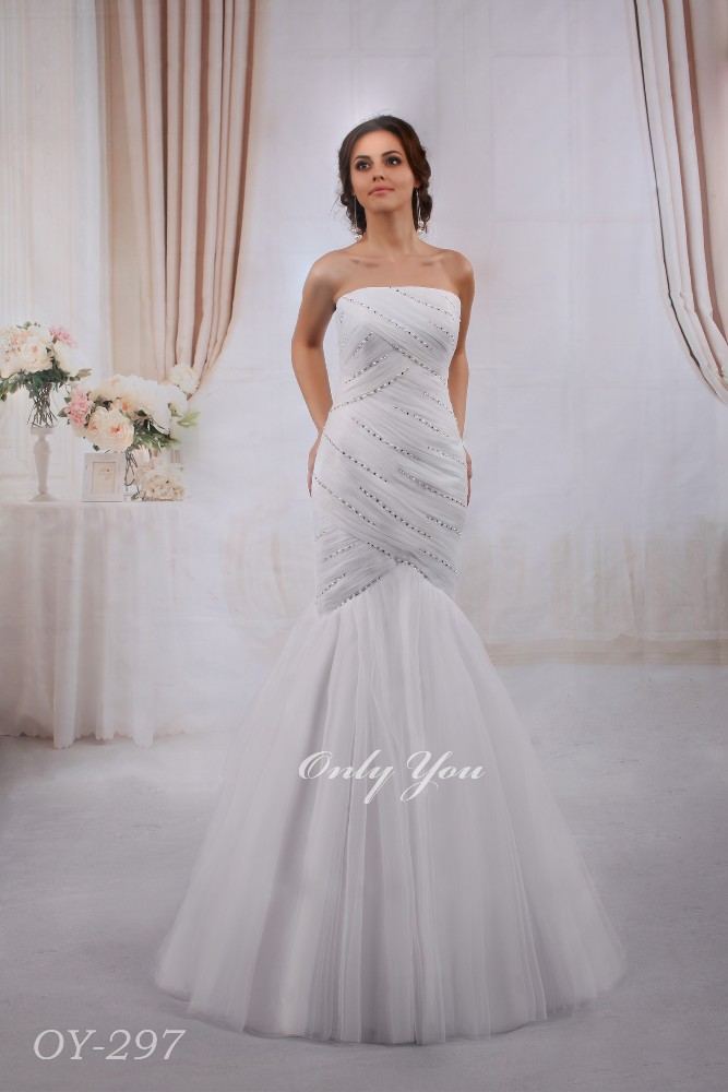 Chic Mermaid Wedding Dress Decorated with Pearls and Rhinestones Beautiful Tail Sleeveless Boat Neck Floor-length
