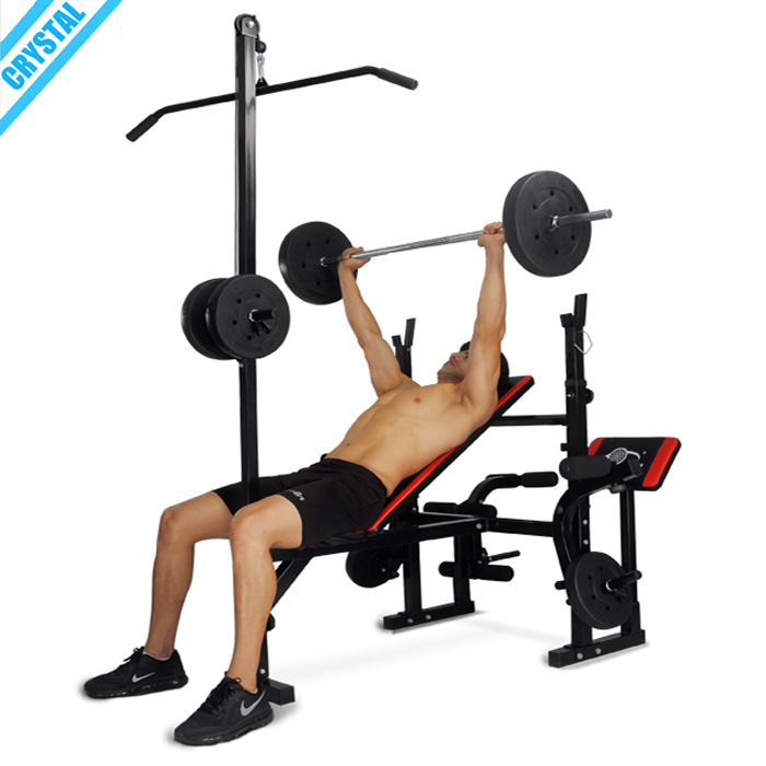 Alibaba.com / SJ-7850 New design home gym body building equipment weight bench with lat pull down bar