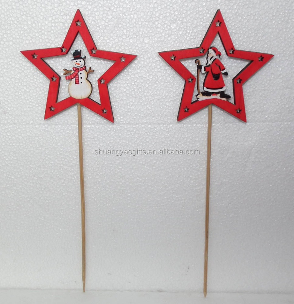 Christmas Wooden stars shape Stick with snowman /santa claus ornament cheap XMAS garden decoration picks