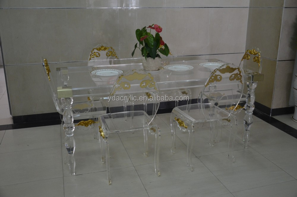 2015 Modern design of clear acrylic lucite dining table with 6 chairs from shenzhen