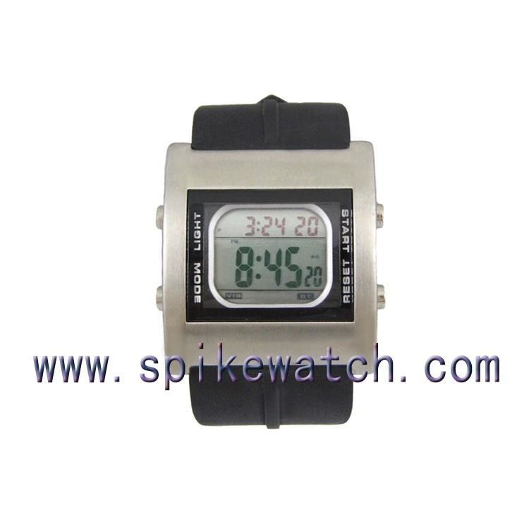 Classic Digital Retro Watch Digital Alarm Chronograph Black Rubber Vibrating Sport Watch
