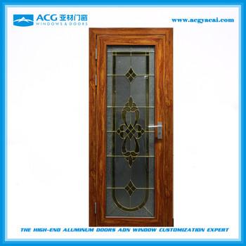 Stylish Modern Interior Glass Door With Aluminum Lattice Inside