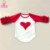 Valentine's day girls red heart top kids 3/4 sleeve ruffle raglan shirts children clothing wholesale