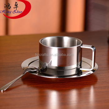 Coffee Mug Stainless Steel Cup Saucer Set With Plate And Spoon