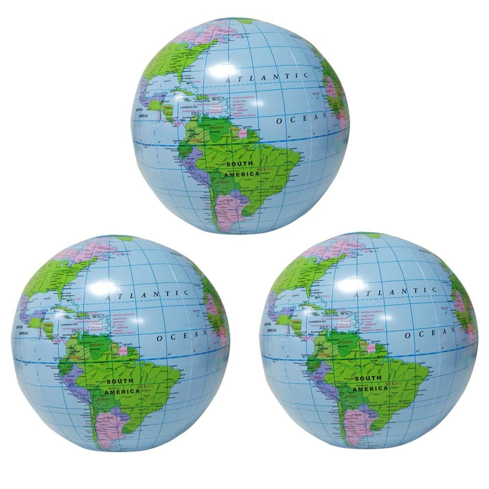 Zmmyr 3Pcs PVC Inflatable Globes Inflatable World Globe Balloon Geography Beach Ball 16 Inch for Political Topographical Learning Education