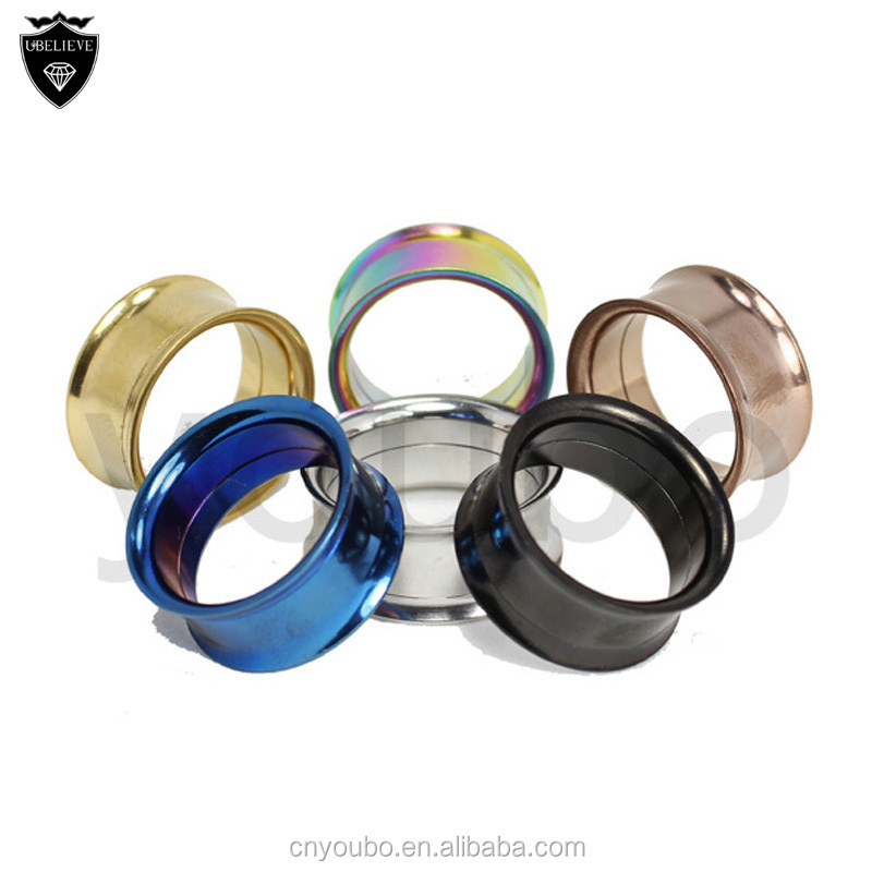 Fashion 316l stainless steel twist off tunnels ear plugs stretchers body piercing jewelry, fashion double flare ear plugs