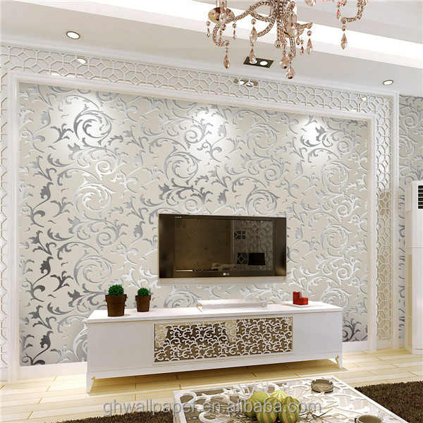 3d Wallpaper For Home Decoration: Leaf Wall Paper Design Home Decor 3d Wallpapers Silver