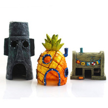 Fish Tank Aquarium Decor Voor SpongeBob & Squidward Huis Ananas Cartoon Huis Thuis Ornamenten Aquarium Accessoires