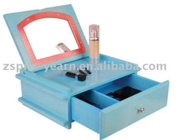 Small Cute Wooden Cosmetic Box with Mirror and Drawer