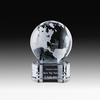 Hot selling K9 crystal world globe trophy with blank base for customized company logo