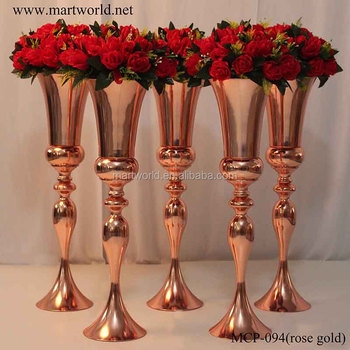 2018 New Design Metal Rose Gold Vase With Wedding Centerpiece For
