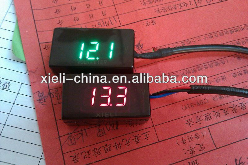 24V Voltage Motorcycle Voltmeter with LED display